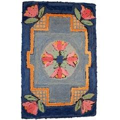Handmade Vintage American Hooked Rug, 1940s
