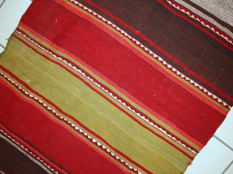Handmade Vintage Ardabil Kilim Style Runner, 1950s, 1C355 For Sale 4