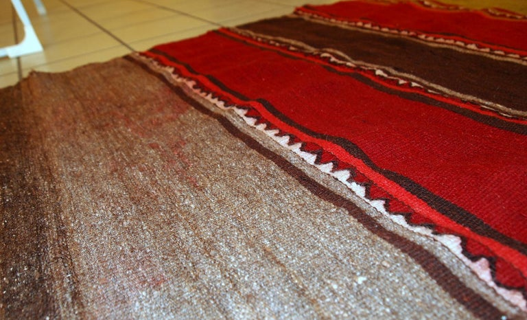 Hand-Knotted Handmade Vintage Ardabil Kilim Style Runner, 1950s, 1C355 For Sale