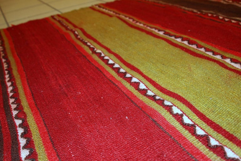 Handmade Vintage Ardabil Kilim Style Runner, 1950s, 1C355 In Fair Condition For Sale In Bordeaux, FR