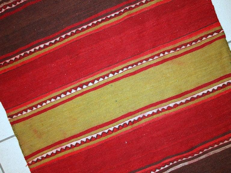 Mid-20th Century Handmade Vintage Ardabil Kilim Style Runner, 1950s, 1C355 For Sale