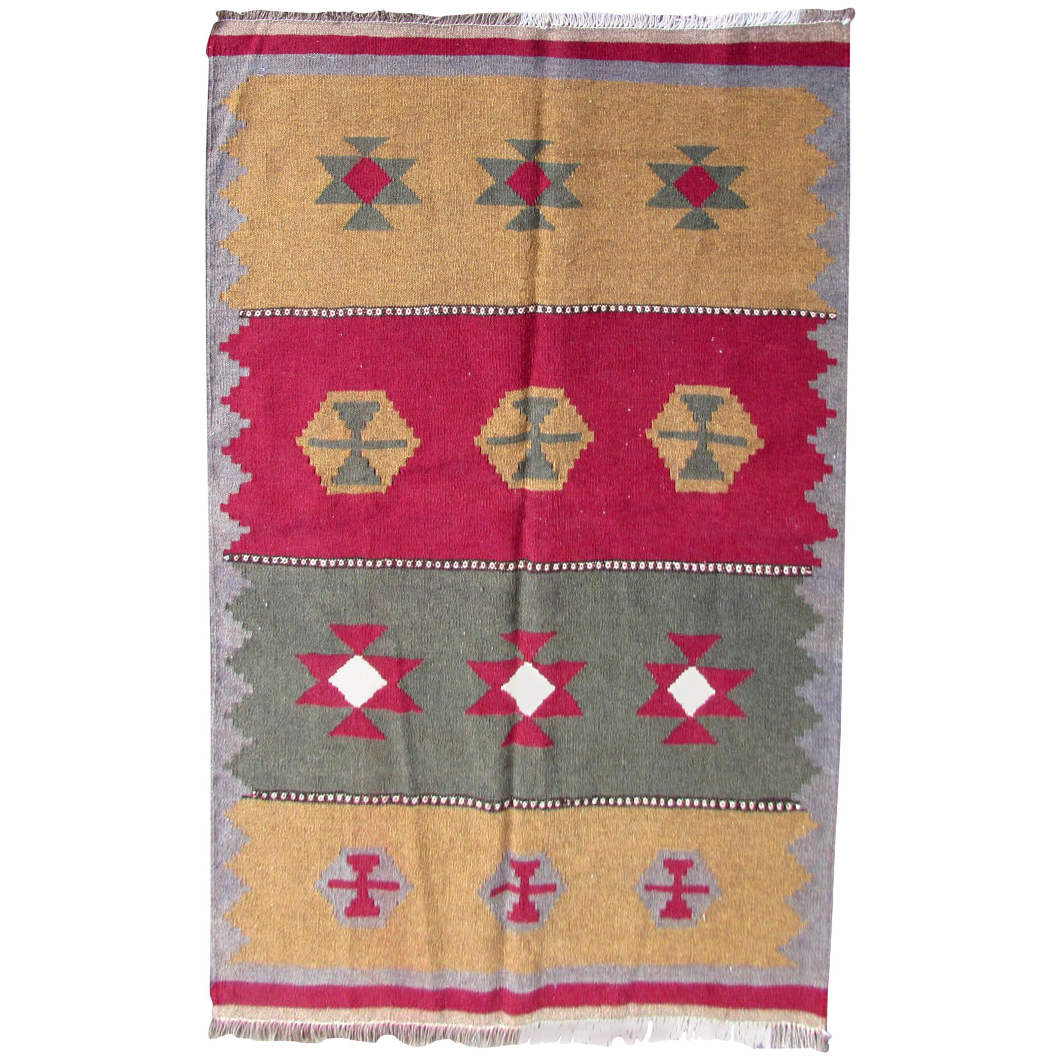 Handmade Vintage Ardabil Style Kilim, 1980s, 1Q0251