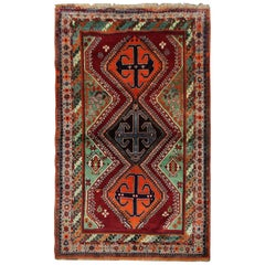 Handmade Vintage Azerbaijan Tribal Living Room Rug, Traditional Wool Carpet Rug