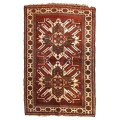 Handmade Vintage Caucasian Eagle Kazak Rug, 1950s, 1c662