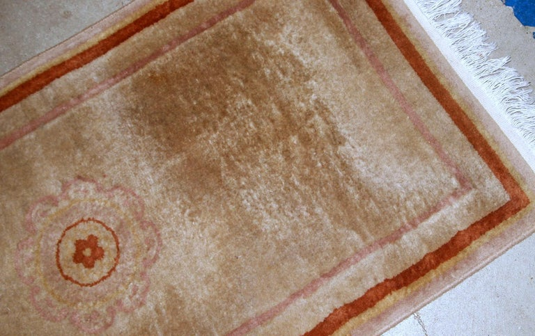 Hand-Knotted Handmade Vintage Chinese Rug, 1970s, 1B850 For Sale