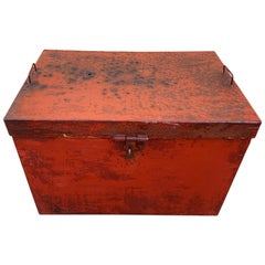 Handmade Vintage Craftsman Metal Storage Box with Distressed Patina