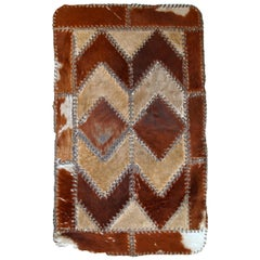 Handmade Vintage European Leather Rug, 1960s, 1C646