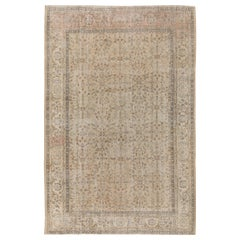 7.4x10.4 Ft Handmade Vintage Floral Turkish Area Rug in Muted, Earthy Colors.
