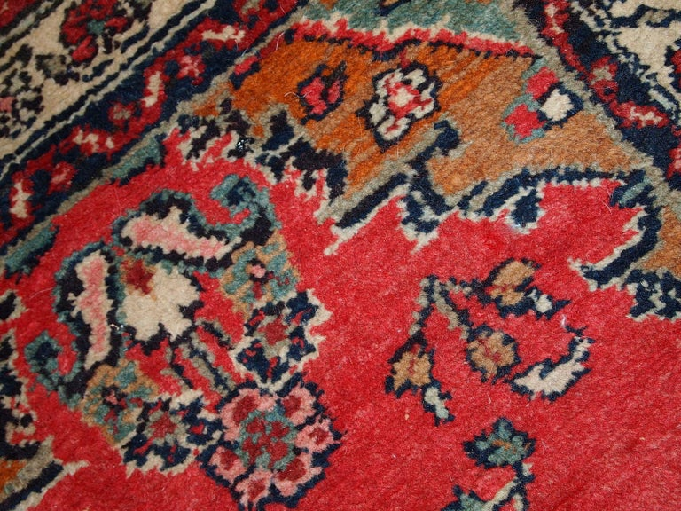 Hand-Knotted Handmade Vintage Hamadan Style Runner, 1960s, 1C616 For Sale
