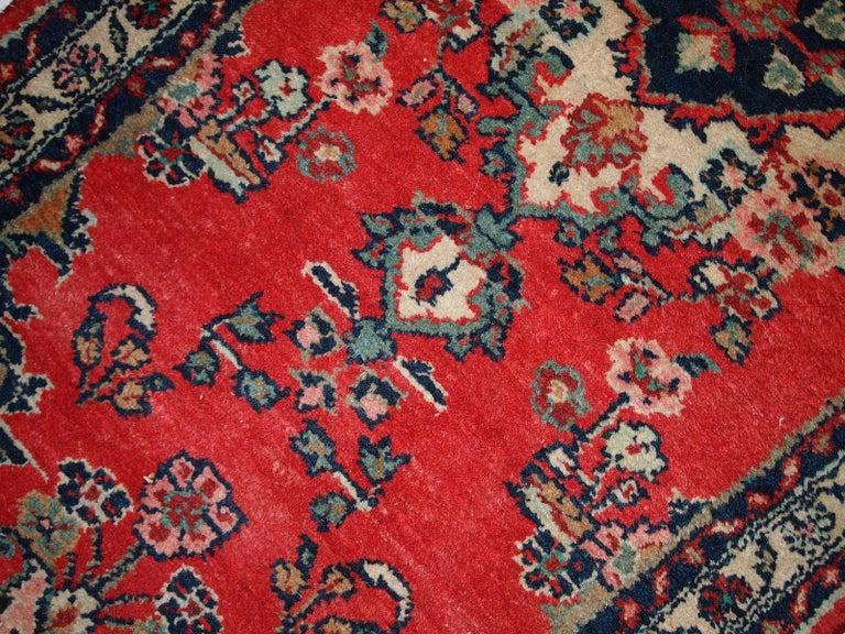 Wool Handmade Vintage Hamadan Style Runner, 1960s, 1C616 For Sale