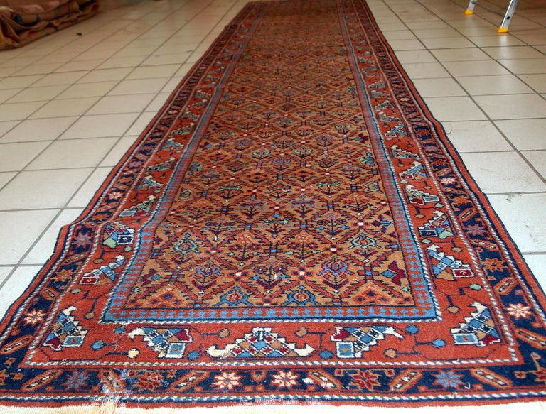 Hand-Knotted Handmade Vintage Hamadan Style Runner, 1960s, 1C663 For Sale