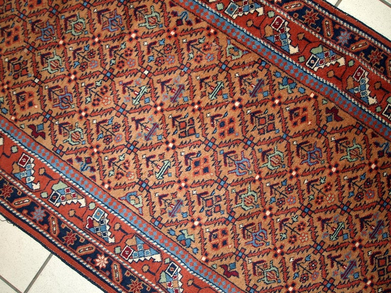 Handmade Vintage Hamadan Style Runner, 1960s, 1C663 In Good Condition For Sale In Bordeaux, FR