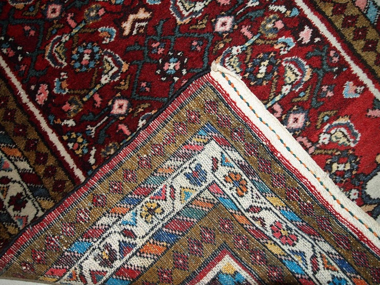 Hand-Knotted Handmade Vintage Hamadan Style Runner, 1970s, 1C303 For Sale