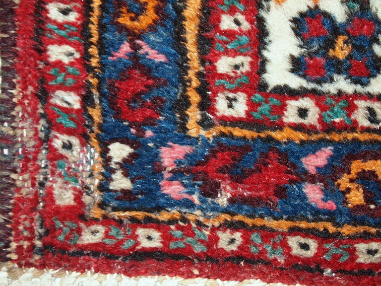 Handmade Vintage Hamadan Style Runner, 1960s, 1C378 In Good Condition For Sale In Bordeaux, FR