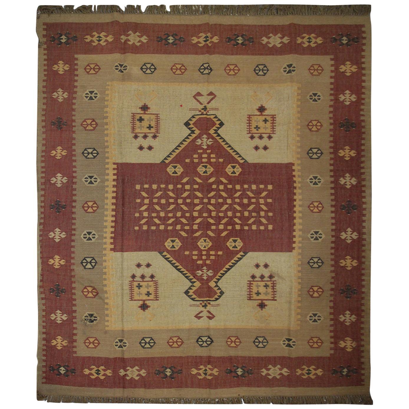 Handmade Vintage Indian Kilim Rug, Traditional Brown and Beige Wool Area Rug