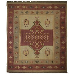 Handmade Vintage Indian Kilim Rug, Traditional Brown and Beige Wool Area Rug