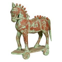 Handmade Vintage Indian Temple Horse Toy on Wheels from Madras with Spheres