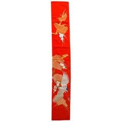 Handmade Vintage Japanese Silk Wall Embroidery, 1980s, 1C670