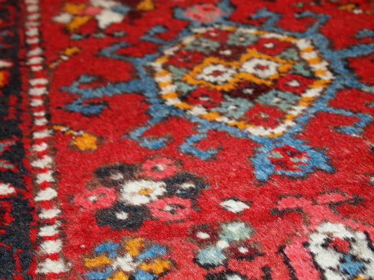 Hand-Knotted Handmade Vintage Karajeh Style Runner, 1960s, 1C686 For Sale