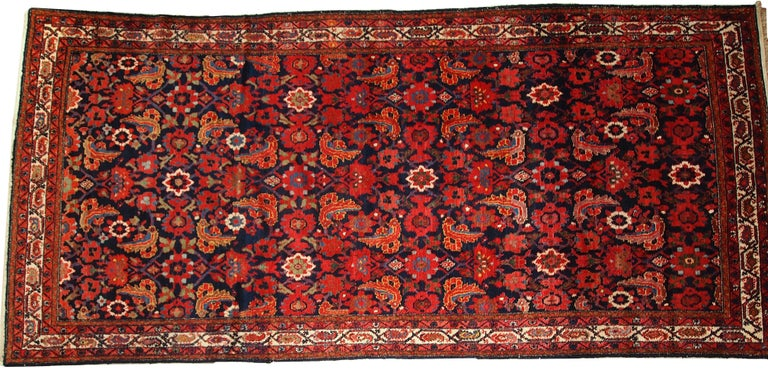 Asian Handmade Vintage Malayer Style Runner, 1920s, 1C323 For Sale