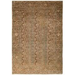 Handmade Vintage Midcentury Qum Rug Beige Brown Persian Paisley Pattern
