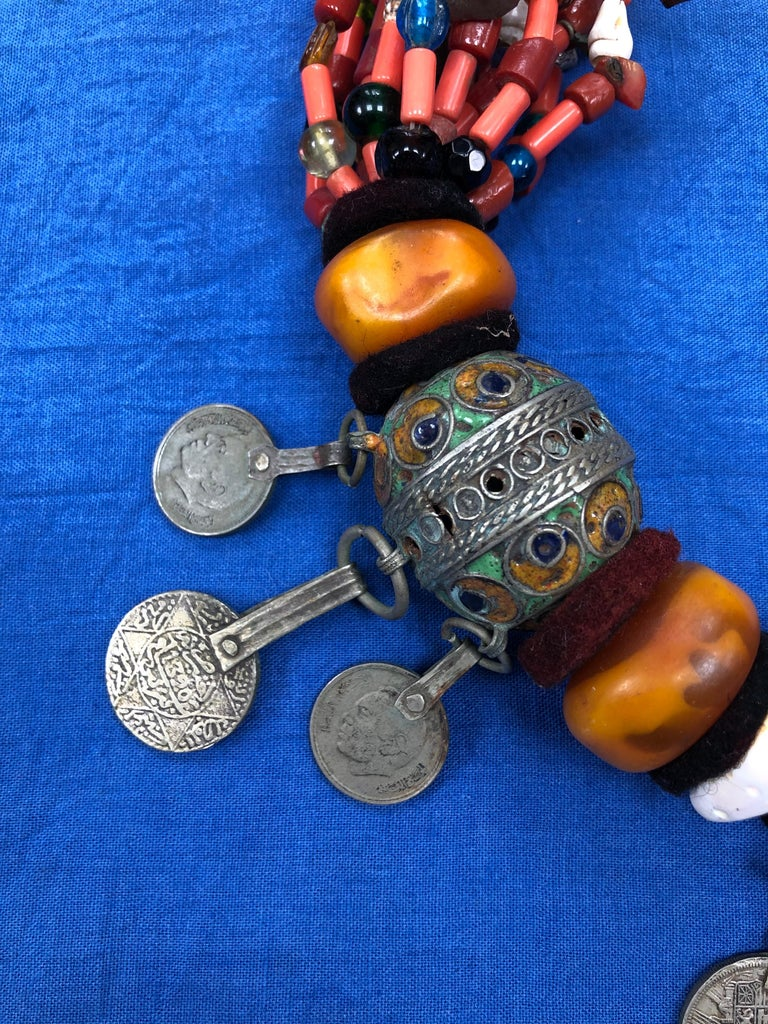 Tribal Large Moroccan Berber Bead Necklace: Silver, Enamel Tagemout, Amber, Copal, Coin For Sale