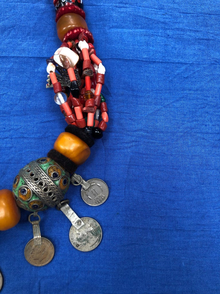 Large Moroccan Berber Bead Necklace: Silver, Enamel Tagemout, Amber, Copal, Coin In Good Condition For Sale In Vineyard Haven, MA