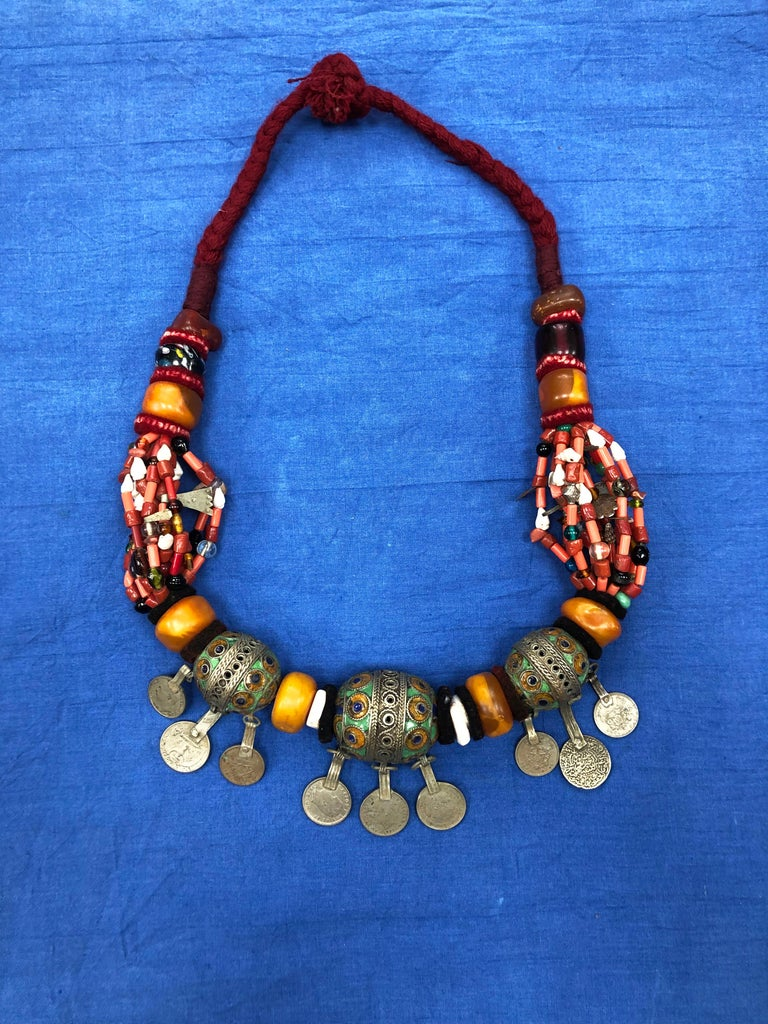 Ceramic Large Moroccan Berber Bead Necklace: Silver, Enamel Tagemout, Amber, Copal, Coin For Sale