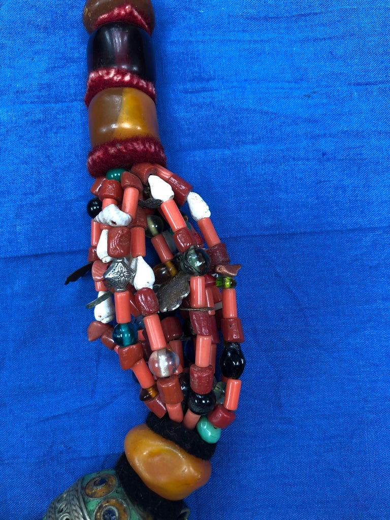 Large Moroccan Berber Bead Necklace: Silver, Enamel Tagemout, Amber, Copal, Coin For Sale 2
