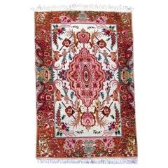 Handmade Vintage Persian Tabriz Rug With Silk, 1980s, 1Q0031