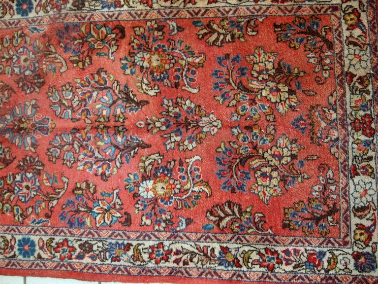 Indian Handmade Vintage Sarouk Style Runner, 1970s, 1C691 For Sale