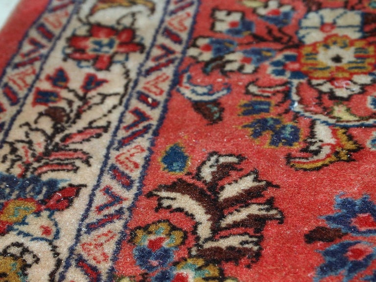 Hand-Knotted Handmade Vintage Sarouk Style Runner, 1970s, 1C691 For Sale