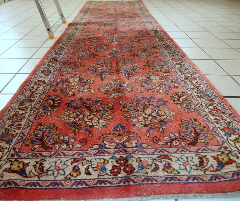 Handmade Vintage Sarouk Style Runner, 1970s, 1C691 In Good Condition For Sale In Bordeaux, FR