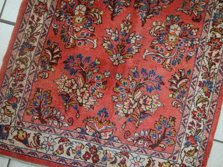 Late 20th Century Handmade Vintage Sarouk Style Runner, 1970s, 1C691 For Sale