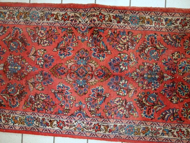 Handmade Vintage Sarouk Style Runner, 1970s, 1C691 For Sale 1