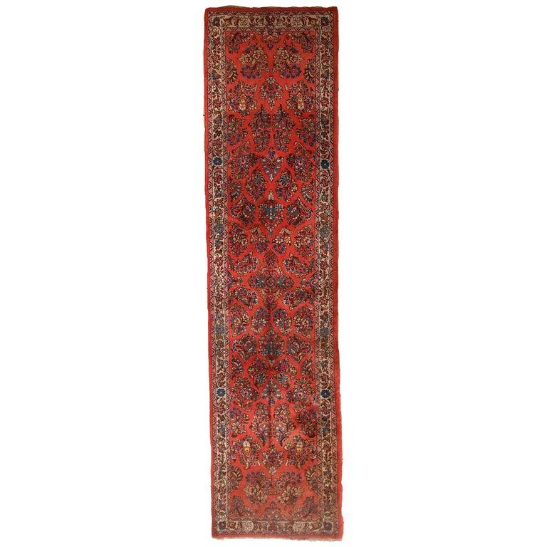 Handmade Vintage Sarouk Style Runner, 1970s, 1C691 For Sale
