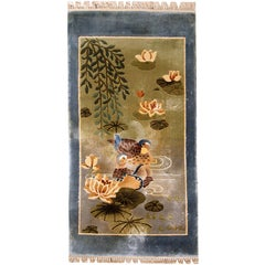 Handmade Vintage Silk Art Deco Chinese Rug, 1980s