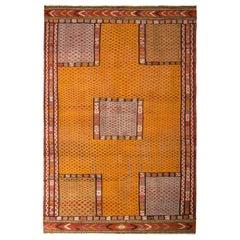 Handmade Vintage Turkish Kilim Rug Gold Multi-Color Textural Geometric Pattern
