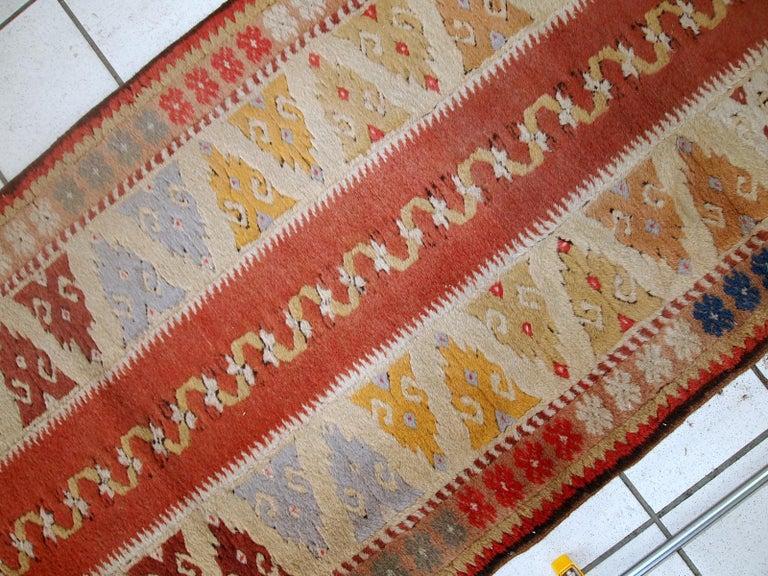 Mid-20th Century Handmade Vintage Turkish Melas Runner, 1950s, 1C689 For Sale