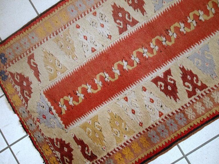 Wool Handmade Vintage Turkish Melas Runner, 1950s, 1C689 For Sale