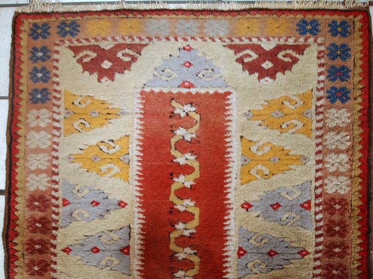 Handmade Vintage Turkish Melas Runner, 1950s, 1C689 For Sale 3
