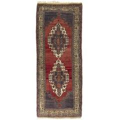 Handmade Vintage Turkish Tribal Rug, 5.4x12.6 Ft One of a Kind Oriental Carpet