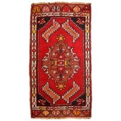 Handmade Vintage Turkish Yastik Rug, 1960s, 1C651