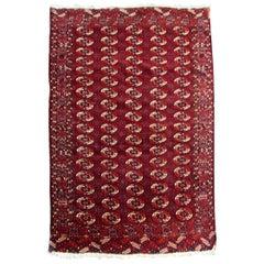 Handmade Vintage Turkmen Tekke Rug, 1910s, 1Q0163