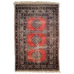 Handmade Vintage Uzbek Bukhara Rug, 1960s, 1C624