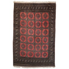 Handmade Vintage Uzbek Bukhara Rug, 1970s, 1C639