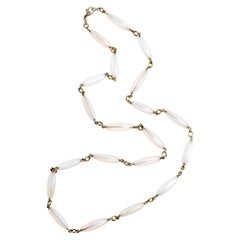 Sylva & Cie Handmade White Agate Chain Necklace in 18k Yellow Gold