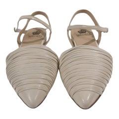 Handmade white cream leather sandals - ballerinas