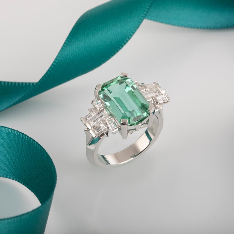 Handmade 18ct White Gold Octagonal Cut 6.73ct Mint Green Tourmaline flanked by F/G Baguette diamonds. TDW 1.06ct.