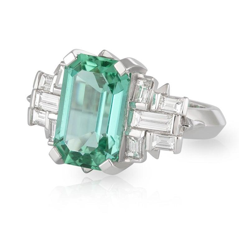 Art Deco Handmade White Gold Mint Tourmaline and Baguette Diamond Geometric Ring For Sale